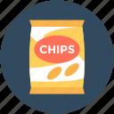snack food, potato crisps, potato chips, chips pack, snacks icon