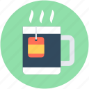 hot drink, instant tea, tea bag, tea cup, tea mug icon