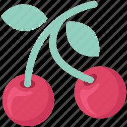 cherry, cherry berries, diet, food, fruit, healthy food, stone fruit icon