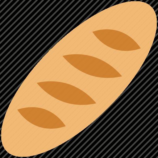baguette, bread loaf, breakfast, food, french bread icon