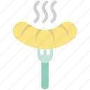 bratwurst, hot dog, meat, sausage, wiener, wiener on fork icon