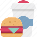 burger, drink, fast food, juice, junk food, sandwich burger, snack food icon