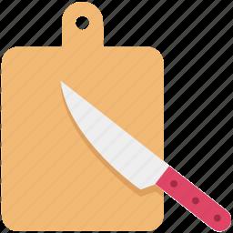 butcher knife, chopping board, cutting board, kitchen, kitchen tool, kitchen utensil, knife icon