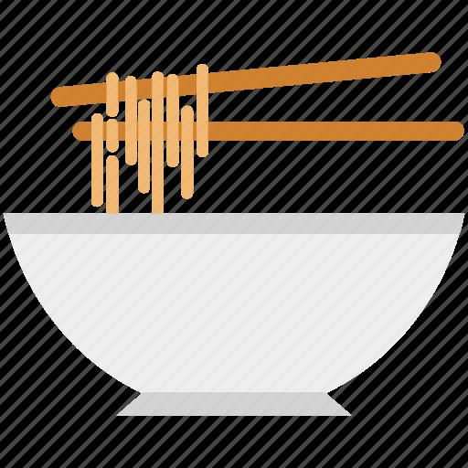 bowl, chopsticks, eating, food bowl, noodles, spaghetti, vermicelli icon