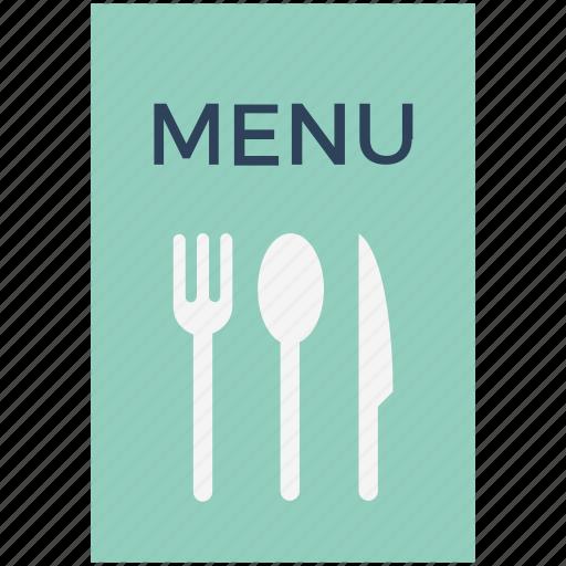 carte du jour, cuisine menu, food menu, meal menu, menu, menu book, menu card icon