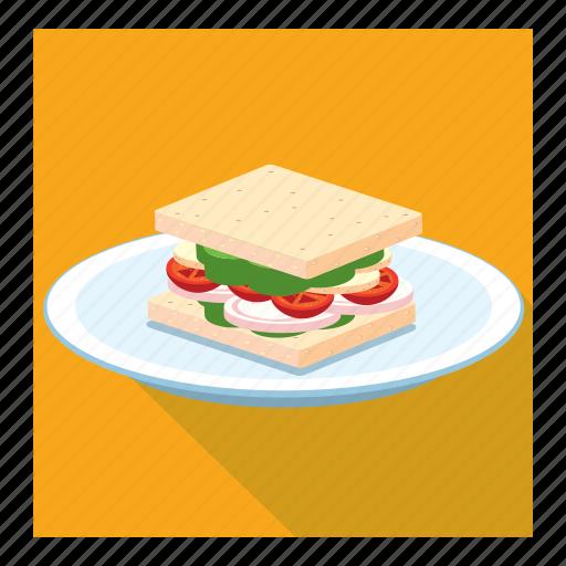 bread slice, dish, sandwich icon