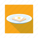 bread slice, dish, half boiled egg icon