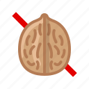 allergen, allergy, food, gastronomy, nut, walnut, yumminky icon