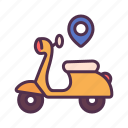 motorcycle, direction, transportation, delivery, destination, shipping icon