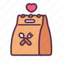 care, delivery, food, meal, package, shipping, take home icon