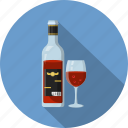 bottle, drink, glass, red wine, wine icon