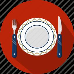 fork, knife, menu, plate, restaurant icon