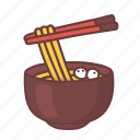 bowl, chopsticks, cooking, food, noodle, restaurant, soup icon