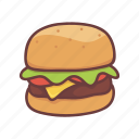 restaurant, hamburger, cooking, cheese, food, fastfood, burger