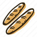 baguette, bakery, breakfast, food, meal, pastry, snack icon