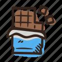 chocolate, chocolate dark, chocolate milk, cocoa, semisweet, sweet icon