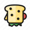 food, line, round, sandwich icon