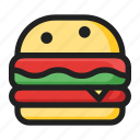 burger, fast, filled, food, line, round icon