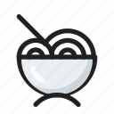 filled, food, line, noodle, round icon