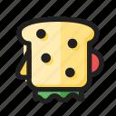 filled, food, line, round, sandwich icon