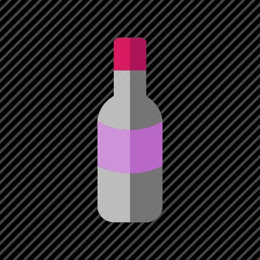bottle, food, round, wine icon