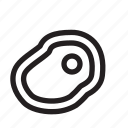 food, line, meat, round icon