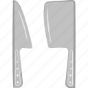 butcher cleaver, butcher knife, cleaver and knife, cutting tool, kitchen utensil, meat cleaver icon