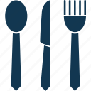 cutlery, fork, kitchen utensil, knife, skimmer, spoon icon