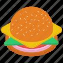 burger, cheese hamburger, fast food, junk meal, pattie burger icon