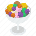 dessert, fruity ice cream, ice cream, ice cream cup, ice cream scoops, sweet icon