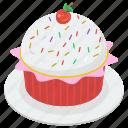 bakery food, cupcake, dessert, fairy cake, muffin, sweet cupcake food icon