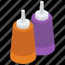 ketchup bottles, lid bottles, salad dressing, sauce bottles, tomato paste container, tomato sauce