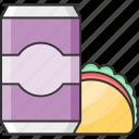fast food, tin, food, taco icon