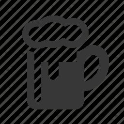 beer, beer mug, drink, drinking, raw, simple, tankard icon