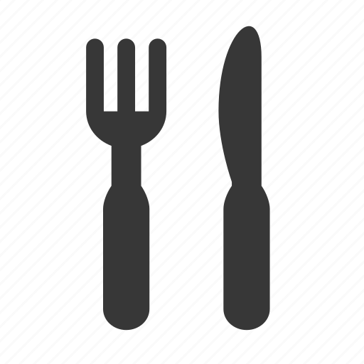 cutlery, eat, eating, food, fork, fork and knife, knife, raw, simple icon