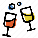 champagne, color, drink, glasses, wine icon