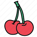 cherry, delicious, food, fruit, healthy, taste icon