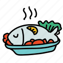dinner, dish, fish, food, lemon, lettuce, meal icon