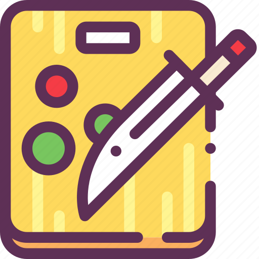 cook, cut, knife, vegetables icon