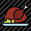chicken, food, plate, turkey icon