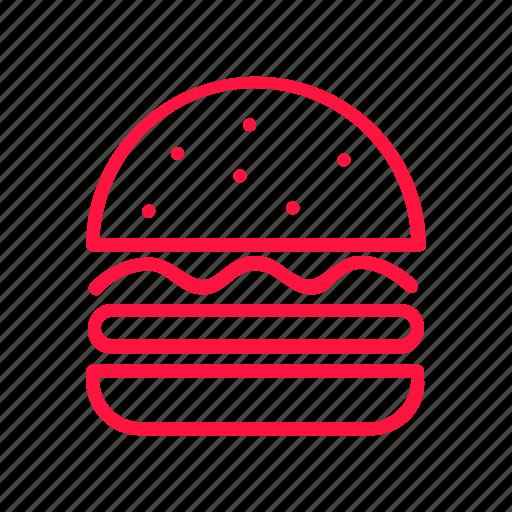 burgers, food, hamburger, junkfood, line icon