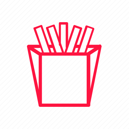 food, french fries, junkfood, line icon
