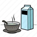 breakfast, eat, food, health, milk, soup icon