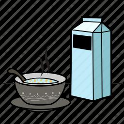 breakfast, eat, food, health, milk, soup icon