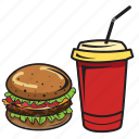 breakfast, burger, coke, drink, food, hamburger, sandwich icon