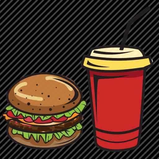 breakfast, burger, coke, drink, food, hamburger, sandwich icon