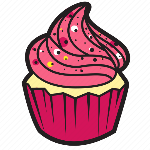 bakery, cafe, cake, cupcake, decoration, food, strawberry icon