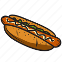 breakfast, burger, food, hotdog, meal, mustard, sandwich icon