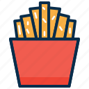 chips, food, fry, potato chips, potator, snack, theatre icon