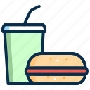 beverage, burger, drink, juice, party, sandwich icon